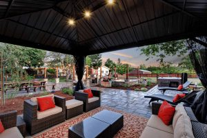 Casa Bella gazebo and stone patio, hot tub, fir pit and outdoor kitchen